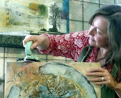 Andrea with Encaustic iron