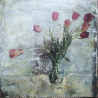 Ten Tulips | Encaustic Photo Transfer by Ruth Maude