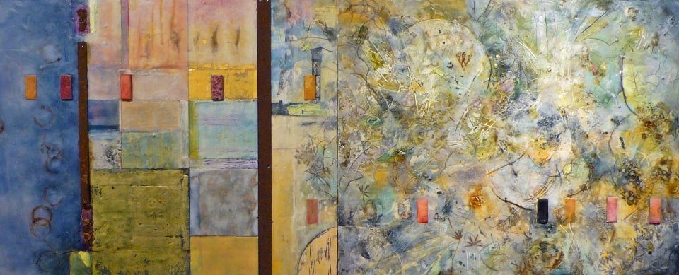"Eleven Doors, 48""x26"" encaustic collage by a. bird and d. beirne"