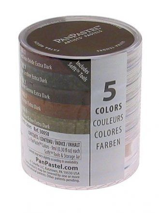 Armadillo Art & Craft PanPastel 9-Milliliter Ultra Soft Artist Pastel Set, Earthtones, 5-Pack