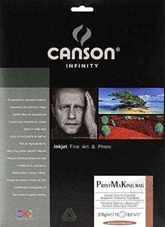 Canson Infinity PMK Printmaking Rag Fine Art Paper, 310 Gram , 8.5 x 11 Inch, 25 Sheets