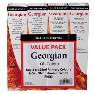 Daler-Rowney Georgian Oil Color 225 ml Tubes - Primary Value Pack w/ Free Titanium White