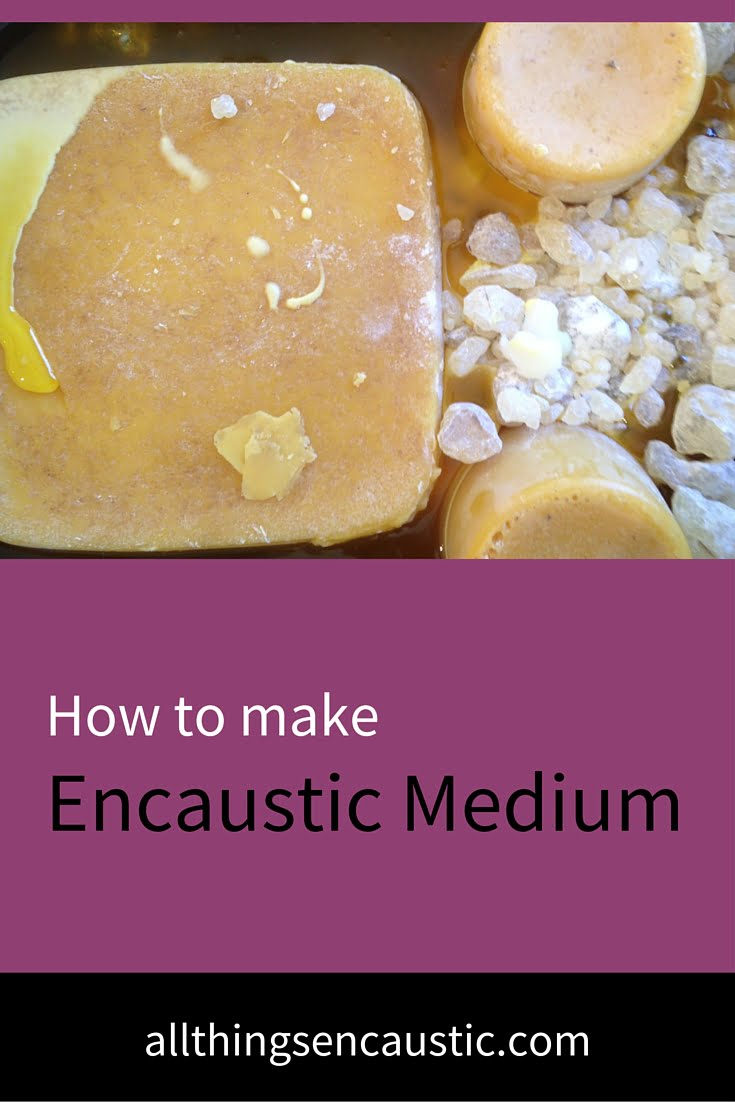 Purchase premade encaustic medium or make your own. Buy damar resin crystals & filtered beeswax and follow this making encaustic medium tutorial.