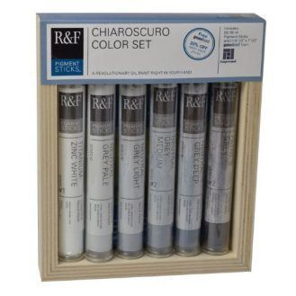 R&F Handmade Paints Pigment Sticks, Chiaroscuro Drawing Colors, Set Of 6