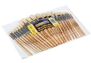 Wood Brushes, Natural Hog Bristles, 12 Round/12 Flat
