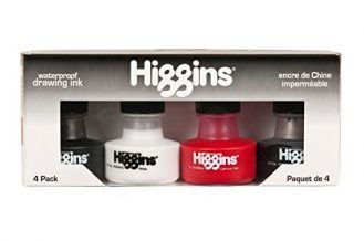 Higgins Dye-Based and Pigmented Drawing Inks, Assorted Colors, 1 Ounce Bottles, 4-Pack (44032)