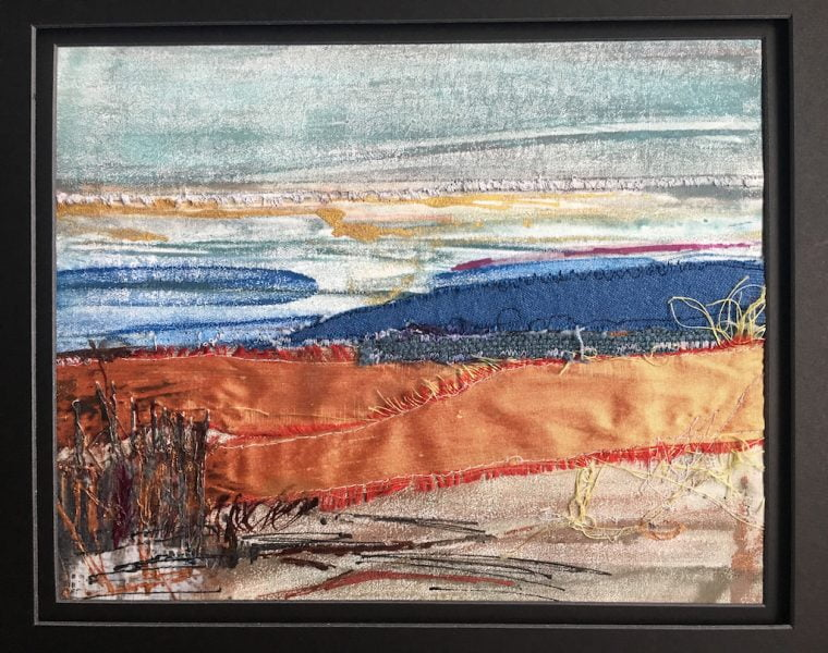"Untitled | Encaustic Monotype with textiles & Mixed Media on Encaustiflex | 7"" x 10"" 