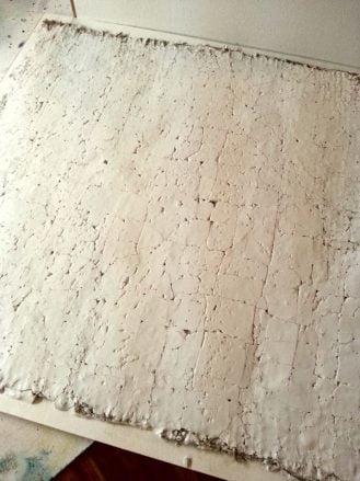 crackled plaster on burlap
