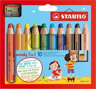 Stabilo Woody Crayons Set Of 10 W/Sharpener