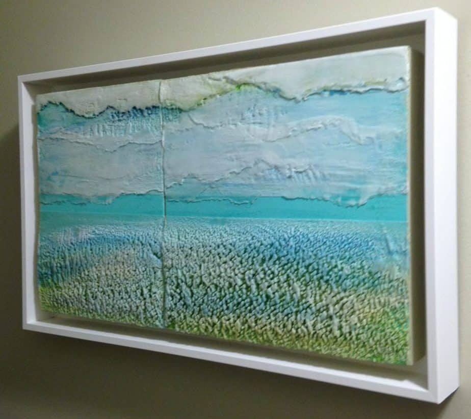 "Drifting like clouds | Encaustic Diptych | Framed 14 1/4"" x 23 1/2"" x 2 1/2"" 