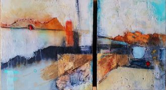 Pointing Towards Peace | Encaustic Diptych by Andrea Bird