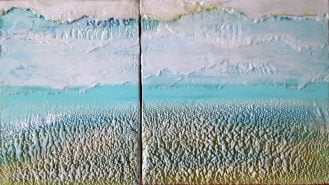 Drifting Like Clouds | Encaustic Diptych by Ruth Maude
