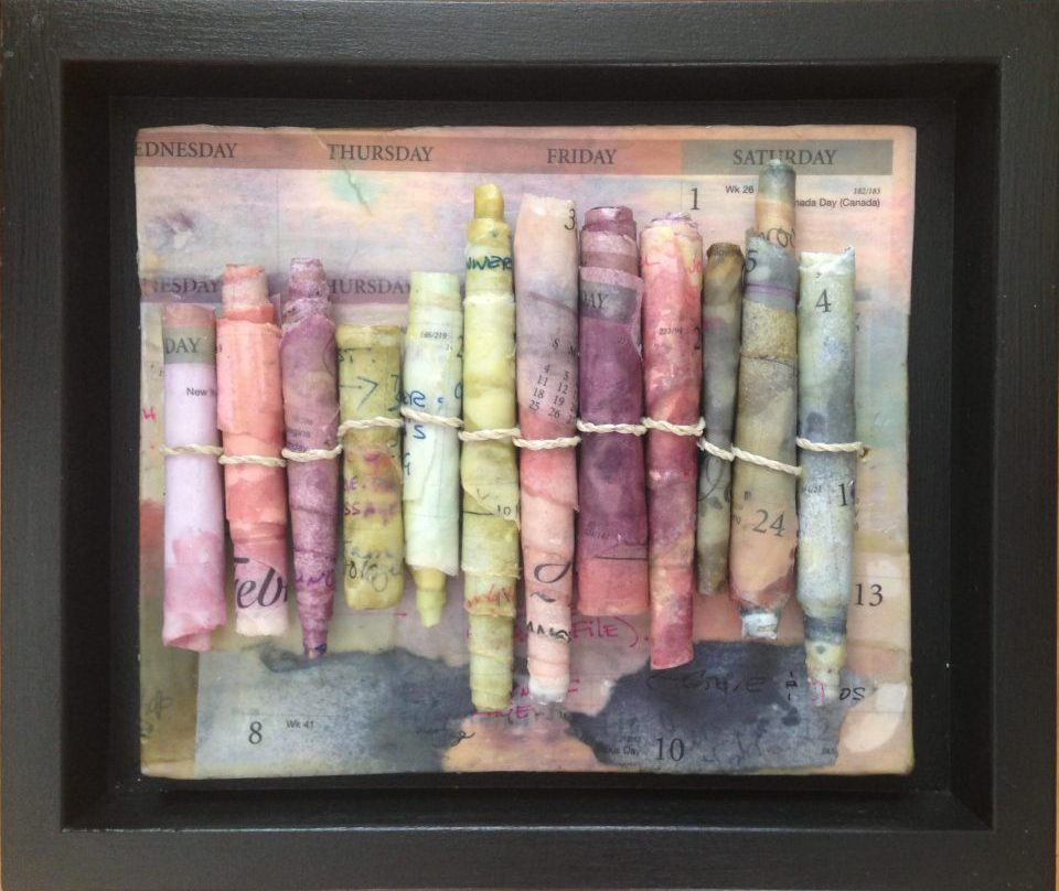 Happy New Year! Encaustic Scrolls with Calendar pages
