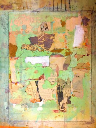 Mixed Media Collage layers as a foundation for encaustic painting