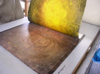encaustic collagraph monotype pulled from plate