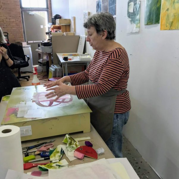 Paula Roland demo - encaustic monotype